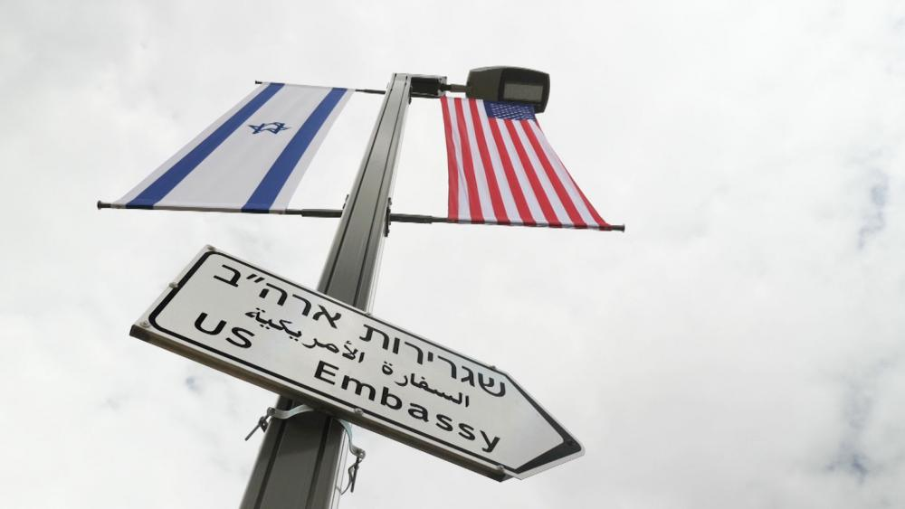 US Embassy street sign, Photo, CBN News, Jonathan Goff